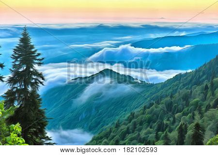 Green mountains and trees over the clouds colorful painting