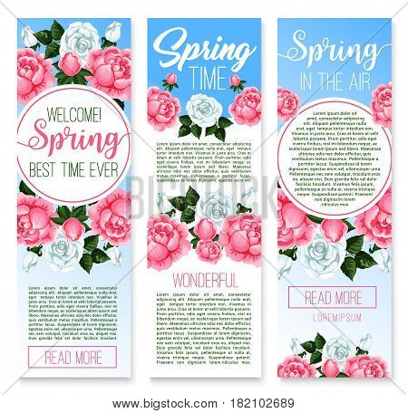 Spring holidays welcome banner template set. Floral poster with spring flowers of rose and peony with green leaves and buds. Springtime holidays, spring season celebrations theme design