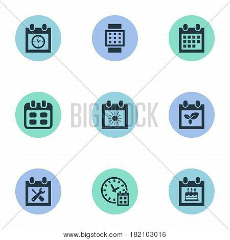 Vector Illustration Set Of Simple Plan Icons. Elements Special Day, Intelligent Hour, Date Block And Other Synonyms Reminder, Calendar And Planner.