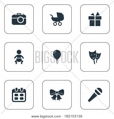 Vector Illustration Set Of Simple Holiday Icons. Elements Speech, Baby Carriage, Infant And Other Synonyms Photography, Speech And Theater.