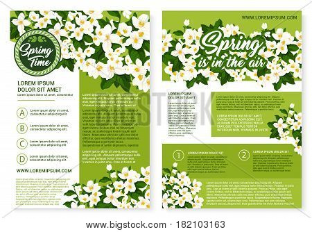 Spring Time greetings and blooming flowers design for springtime holiday vector posters. Spring is in the air quotes on blooming white crocuses wreath, jasmine blossoms on green nature field