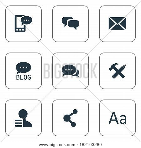 Vector Illustration Set Of Simple Newspaper Icons. Elements Cedilla, Gain, Share And Other Synonyms Blog, Profit And Earnings.