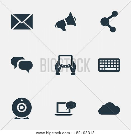 Vector Illustration Set Of Simple User Icons. Elements Gossip, Loudspeaker, Broadcast And Other Synonyms Broadcast, Tablet And Epistle.