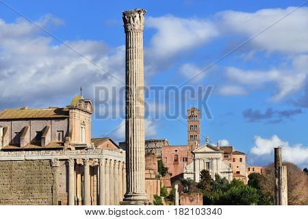 Roman Forum columns temples and churches in the center of Rome