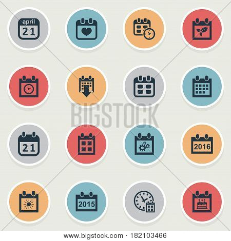 Vector Illustration Set Of Simple Time Icons. Elements Heart, Planner, Annual And Other Synonyms Event, History And Special.