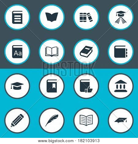Vector Illustration Set Of Simple Books Icons. Elements Plume, Encyclopedia, Blank Notebook And Other Synonyms Academy, Notepad And Catalog.