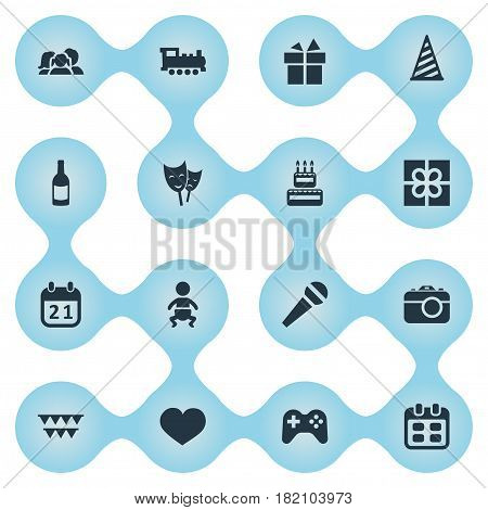 Vector Illustration Set Of Simple Birthday Icons. Elements Special Day, Beverage, Speech And Other Synonyms Ribbon, Beverage And Locomotive.