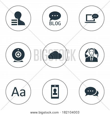 Vector Illustration Set Of Simple User Icons. Elements Broadcast, Profile, Cedilla And Other Synonyms Profile, Alphabet And International.
