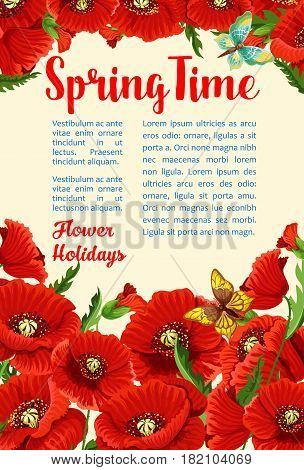 Spring Time vector poster for springtime greetings. Floral design of red blooming flowers bunch and poppy blossoms. Spring time holidays flourish bouquets and flower buds in bloom with butterflies