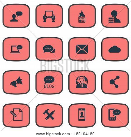 Vector Illustration Set Of Simple Blogging Icons. Elements Site, Laptop, Man Considering And Other Synonyms Megaphone, E-Letter And Overcast.
