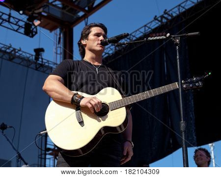 FRISCO, TX-APR 23: Singer Joe Nichols performs onstage during the 2016 Off The Rails Music Festival - Day 1 at Toyota Stadium in Frisco, Texas