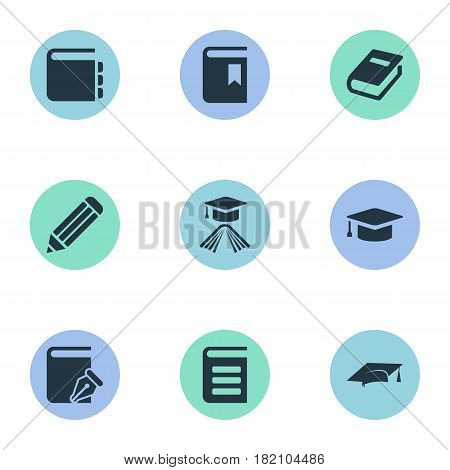 Vector Illustration Set Of Simple Knowledge Icons. Elements Book Cover, Encyclopedia, Journal And Other Synonyms Pencil, Notepad And Dictionary.