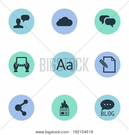 Vector Illustration Set Of Simple Newspaper Icons. Elements Cedilla, Gossip, Notepad And Other Synonyms Tablet, Blog And Typography.