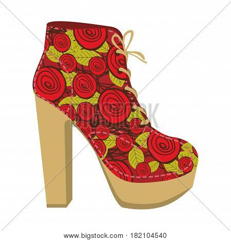 colorful silhouette of high heel shoe with shoelaces with floral decoration vector illustration
