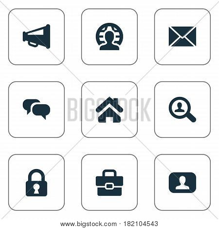 Vector Illustration Set Of Simple Business Icons. Elements Chatting, Magnifier, Padlock And Other Synonyms Megaphone, Estate And Loudspeaker.