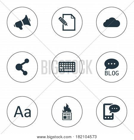 Vector Illustration Set Of Simple Newspaper Icons. Elements Cedilla, Document, Share And Other Synonyms Cedilla, Overcast And Megaphone.