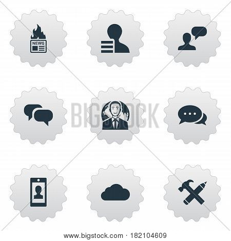 Vector Illustration Set Of Simple Blogging Icons. Elements Gain, Man Considering, Gossip And Other Synonyms Speech, Repair And Discussion.