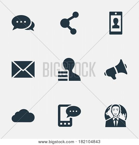 Vector Illustration Set Of Simple Newspaper Icons. Elements Loudspeaker, International Businessman, E-Letter And Other Synonyms Loudspeaker, Profile And Gain.