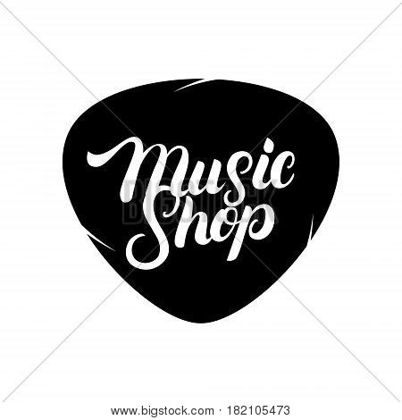 Music Shop hand written lettering logo, label, badge, emblem. Modern brush calligraphy. Isolated on white background. Vector illustration.