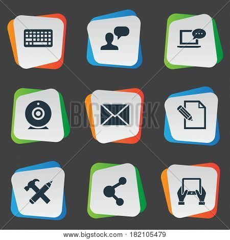 Vector Illustration Set Of Simple Newspaper Icons. Elements Laptop, Keypad, Repair And Other Synonyms Epistle, Tablet And Debate.