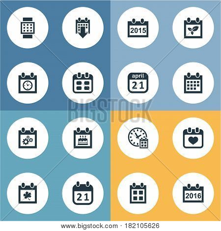 Vector Illustration Set Of Simple Date Icons. Elements Almanac, Planner, History And Other Synonyms Smart, Deadline And Block.