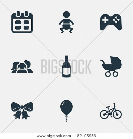 Vector Illustration Set Of Simple Celebration Icons. Elements Domestic, Infant, Beverage And Other Synonyms Beverage, Resonate And Jingle.