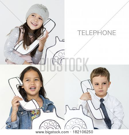 Set of Diverse Kids Using Papercraft Telephone Studio Collage