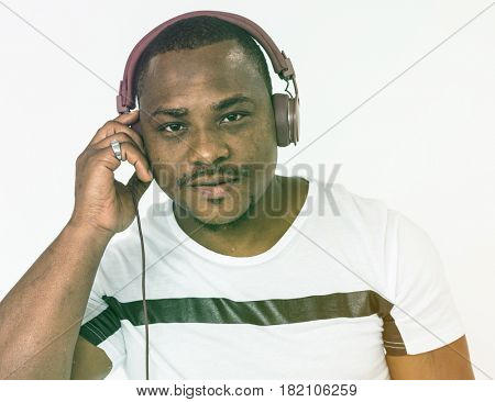 Adult Man Wear Headphone Listen to Music Studio Portrait