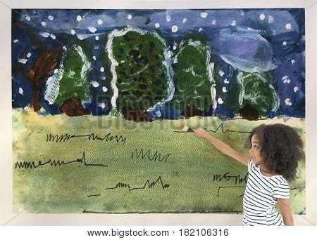 Kids fun winter forest artwork