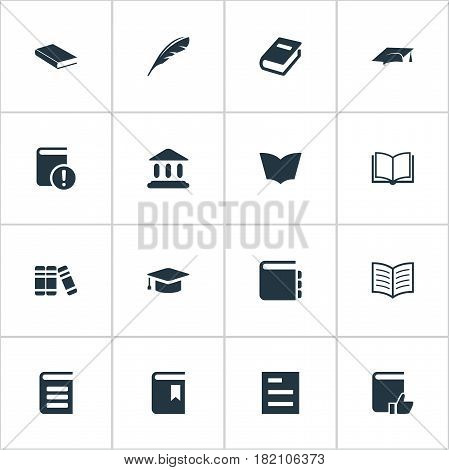 Vector Illustration Set Of Simple Reading Icons. Elements Plume, Library, Bookshelf And Other Synonyms Bookshelf, Document And Quill.