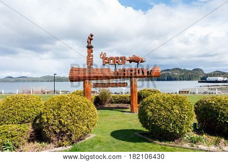 Port Hardy, BC, Canada - Circa 2017: Port Hardy Welcome Sign