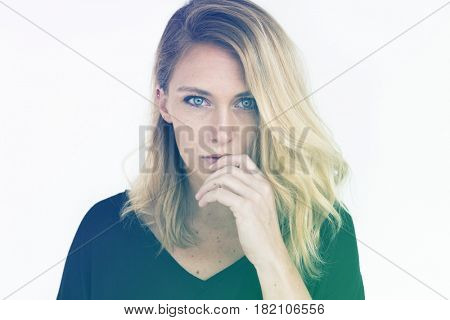 Woman Serious Look Studio Portrait