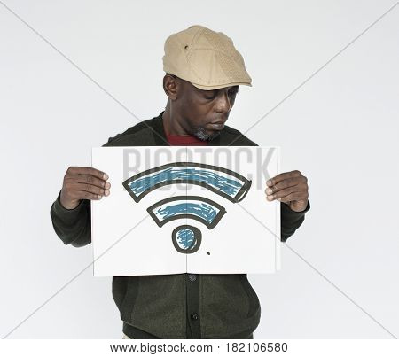 African man holding placard with wifi icon