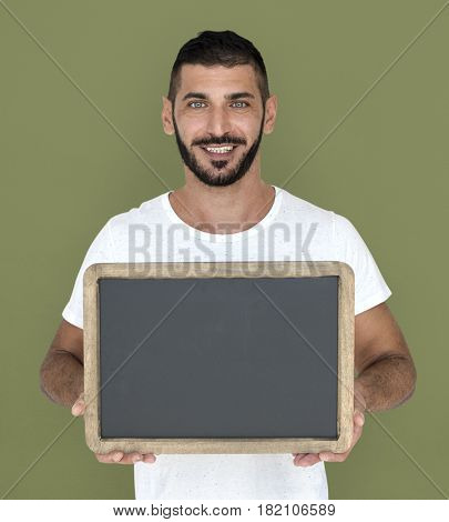 Man Holding Chalkboard Smiling Happy