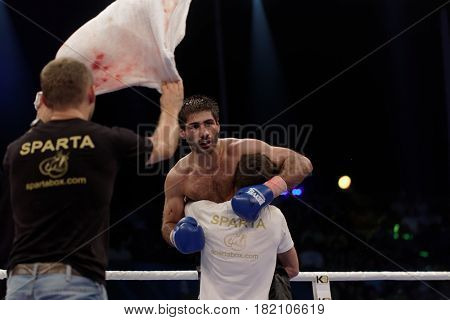 ODESSA, UKRAINE - JULY 21, 2012: Boxer Igor Fanian after his fight with Valeriy Brazhnyk. The tournament was organized by the company K2 Promotions of brothers Klichko