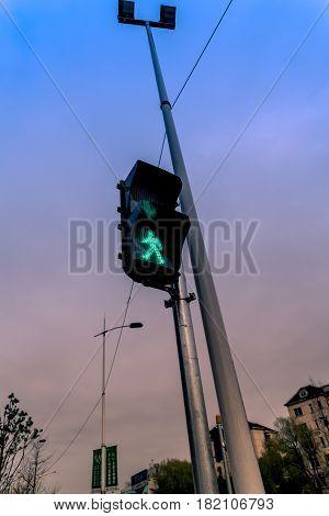 Traffic pedestrian semaphore with a green light