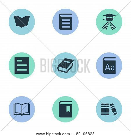 Vector Illustration Set Of Simple Education Icons. Elements Blank Notebook, Notebook, Bookshelf And Other Synonyms Dictionary, Bookshelf And Alphabet.