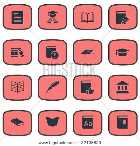 Vector Illustration Set Of Simple Reading Icons. Elements Plume, Tasklist, Recommended Reading And Other Synonyms Bookshelf, Catalog And Textbook.
