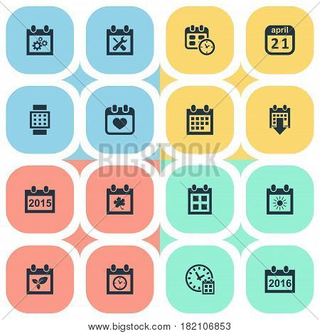 Vector Illustration Set Of Simple Calendar Icons. Elements Annual, Intelligent Hour, History And Other Synonyms Repair, Event And Heart.