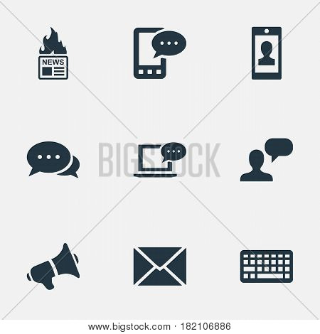Vector Illustration Set Of Simple Newspaper Icons. Elements Post, Loudspeaker, Gazette And Other Synonyms E-Letter, Coming And Argument.