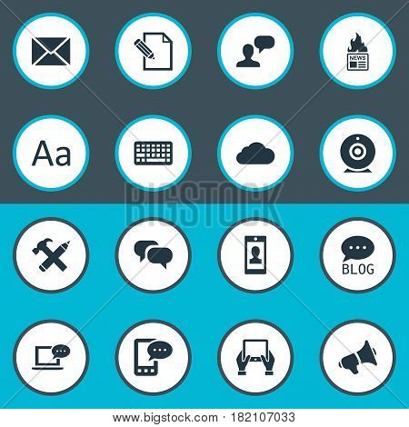 Vector Illustration Set Of Simple Blogging Icons. Elements Man Considering, Cedilla, Site And Other Synonyms News, Typography And Repair.
