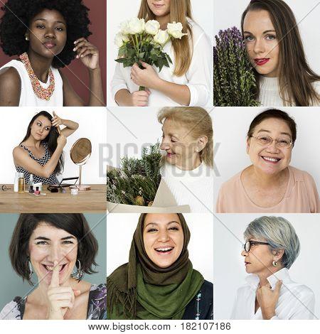 Set of Diversity Women Face Expression Lifestyle Studio Collage