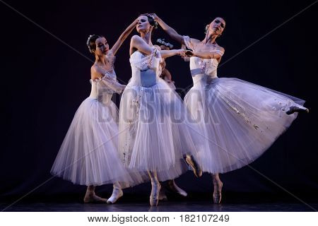 ST. PETERSBURG, RUSSIA - MARCH 28, 2016: Young dancers perform at the opening ceremony of X International Festival of Choreographic Art Pari Grand. Artists from 9 countries participated in festival