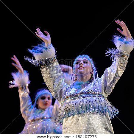 ST. PETERSBURG, RUSSIA - MARCH 28, 2016: Dancing group Angels perform at the opening ceremony of X International Festival of Choreographic Art Pari Grand. Artists from 9 countries participated in it