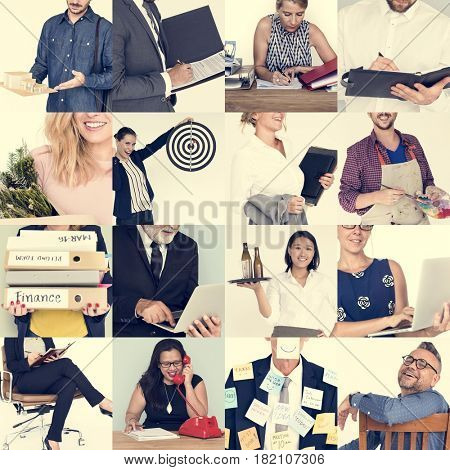 People Set of Diversity Business People Studio Portrait