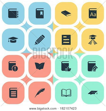 Vector Illustration Set Of Simple Books Icons. Elements Pen, Encyclopedia, Plume And Other Synonyms Textbook, Alphabet And Document.