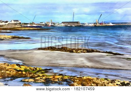 Colorful painting of Killeany bay, Inishmore island, Aran islands, Galway county, Ireland