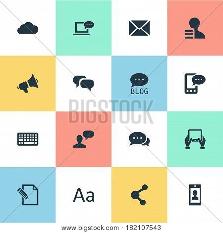 Vector Illustration Set Of Simple User Icons. Elements Argument, Share, Keypad And Other Synonyms Typography, Site And Overcast.