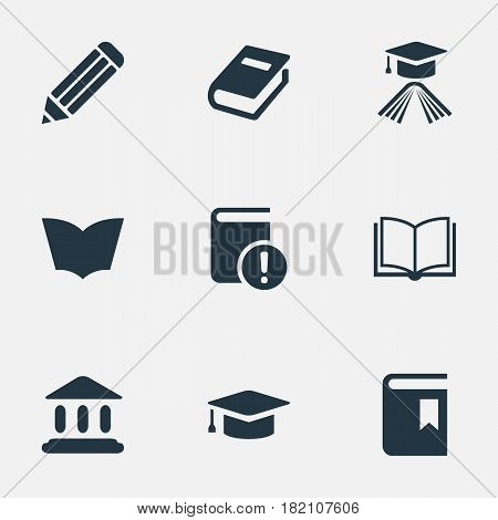 Vector Illustration Set Of Simple Knowledge Icons. Elements Graduation Hat, Important Reading, Pen And Other Synonyms Building, Textbook And Academy.