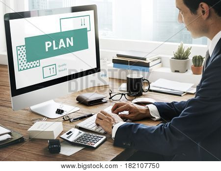 Businessman planning for business strategy